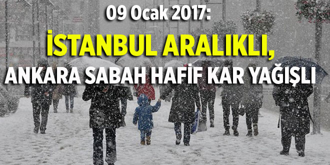 09/01/2017: İSTANBUL ARALIKLI, ANKARA SABAH HAFİF KAR YAĞIŞLI