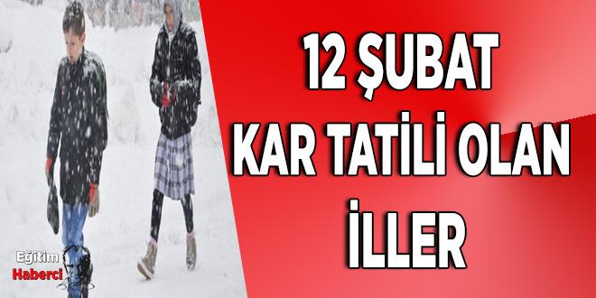 12 Şubat Kar Tatili Olan  İller
