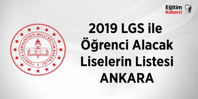 2019  Merkezi sınavla öğrenci alan liseler-Ankara