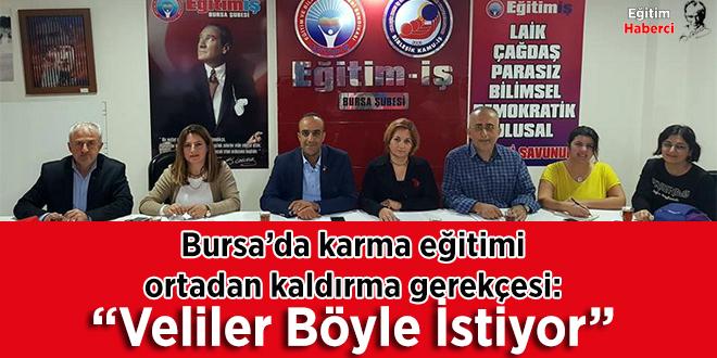 """Bursa'da karma eğitimi ortadan kaldırma gerekçesi: """"Veliler Böyle İstiyor"""""""