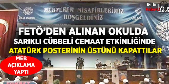Devlet okulunda Atatürk posterinin üzerini kapattılar, cübbeli, sarıklı etkinlik düzenlediler