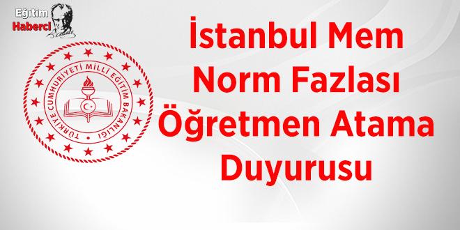 İstanbul Mem Norm Fazlası Öğretmen Atama Duyurusu