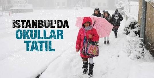 İstanbul'da yarın (salı günü) okullar tatil 10 Ocak 2017