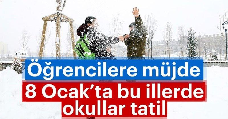 Kar tatili olan il ve ilçeler! 8 Ocak Salı günü okullar tatil mi? İstanbul'da okullar tatil mi?