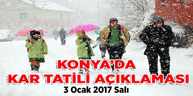 Konya'da  Valilikten Okullara 3 Ocak 2017 kar tatili açıklaması