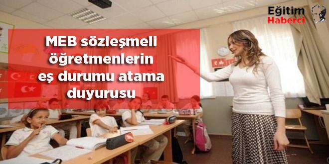 MEB sözleşmeli öğretmenlerin eş durumu atama duyurusu