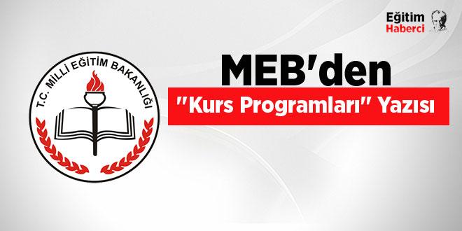 MEB'den ''Kurs Programları'' Yazısı