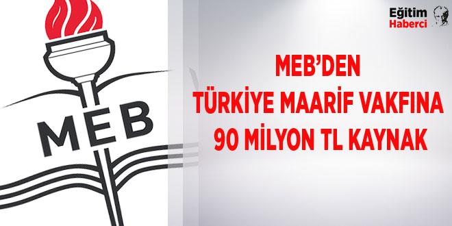 -MEB'DEN TÜRKİYE MAARİF VAKFINA 90 MİLYON TL KAYNAK