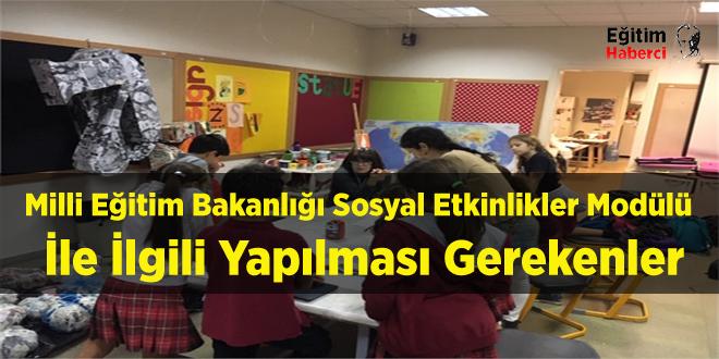 Milli Eğitim Bakanlığı: Sosyal Etkinlikler Modülü İle İlgili Yapılması Gerekenler