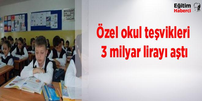 Özel okul teşvikleri 3 milyar lirayı aştı