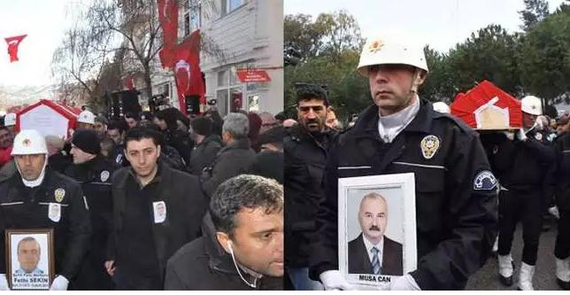 Şehit polis Fethi Sekin ile şehit mübaşir Musa Can son yolculuğuna uğurlandı