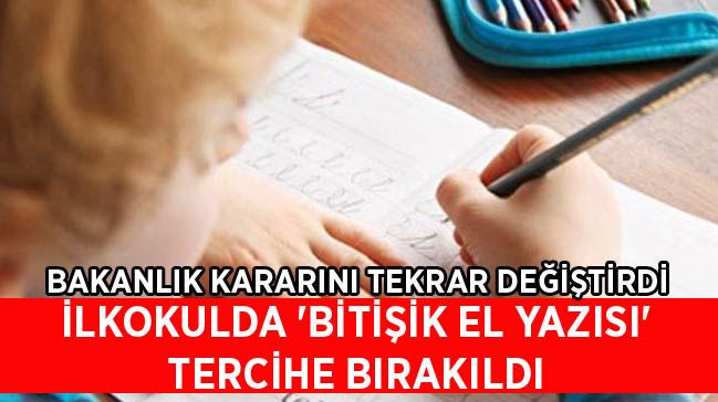İlkokulda 'bitişik el yazısı' tercihe bırakıldı