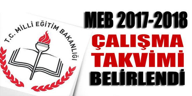 MEB, 2017-2018 eğitim öğretim yılı çalışma takvim belli oldu