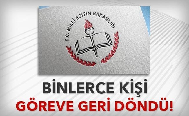 -MEB'DE 3 BİN 592 PERSONEL GÖREVE GERİ DÖNÜYOR