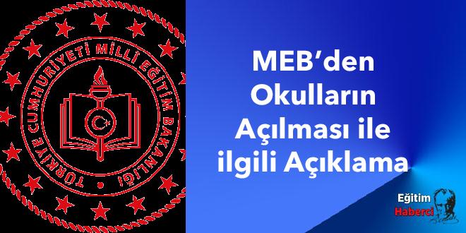 MEB'den Okulların Açılması ile ilgili Açıklama