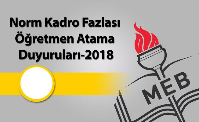 Norm Kadro Fazlası Öğretmen Atama Duyuruları-2018