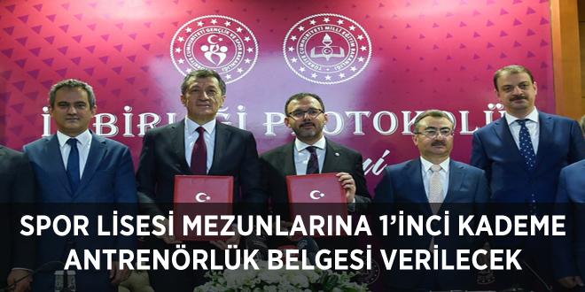 SPOR LİSESİ MEZUNLARINA 1'İNCİ KADEME ANTRENÖRLÜK BELGESİ VERİLECEK