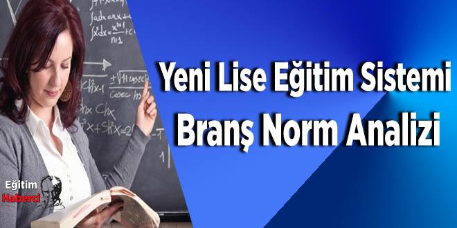 Yeni Lise Eğitim Sistemi Branş Norm Analizi