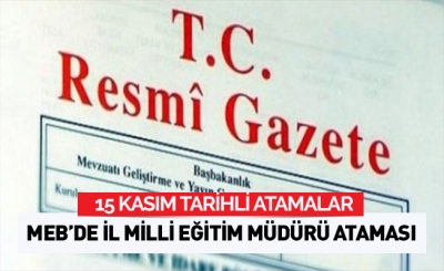-15/11/2016- ATAMA KARARLARI RESMİ GAZETE'DE
