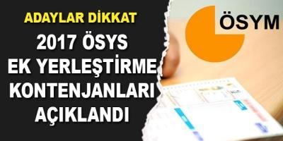 -2017-ÖSYS EK YERLEŞTİRME SONUÇLARI AÇIKLANDI