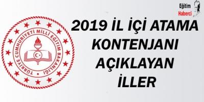2019 İl İçi Atama Kontenjanı Açıklayan İller
