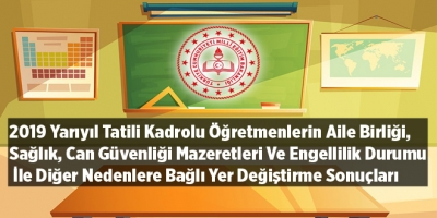 2019 Yarıyıl Tatili Kadrolu Öğretmenlerin Aile Birliği, Sağlık, Can Güvenliği Mazeretleri Ve Engellilik Durumu İle Diğer Nedenlere Bağlı Yer Değiştirme Sonuçları