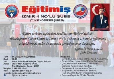 Eğitim İş Sendikası İzmir 4 No'lu Şubesi 1. kuruluş yıl dönümünü kutluyor