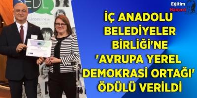 İç Anadolu Belediyeler Birliği'ne Avrupa Birliğinden Ödül