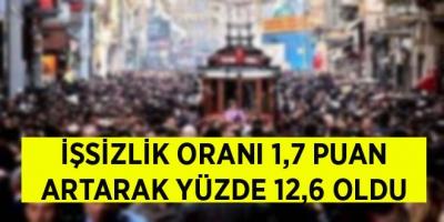 -İŞSİZLİK ORANI 1,7 PUAN ARTARAK YÜZDE 12,6 OLDU