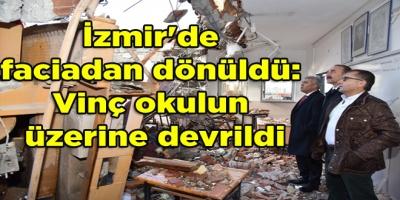 İzmir'de faciadan dönüldü: Vinç okulun üzerine devrildi