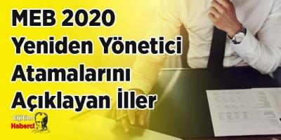 MEB 2020  Yeniden Yönetici  Atamalarını  Açıklayan İller