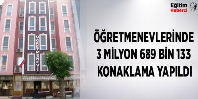 -ÖĞRETMENEVLERİNDE 3 MİLYON 689 BİN 133 KONAKLAMA YAPILDI