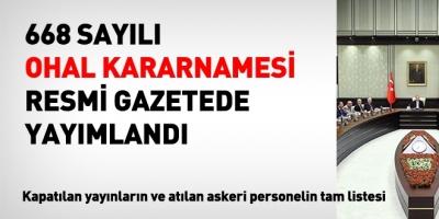 OHAL kararnamesi, Resmi Gazete'de yayımlandı