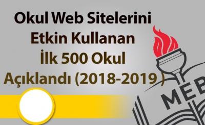 Okul Web Sitelerini Etkin Kullanan İlk 500 Okul Açıklandı (2018-2019 )
