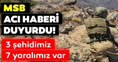 Pençe-3 Harekatında 3 asker şehit olurken 7 askerimizde yaralandı