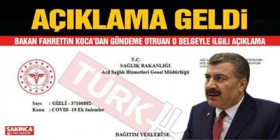 Sağlık Bakanı Fahrettin Koca'dan gündeme oturan o gizli belgeyle ilgili açıklama