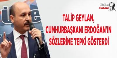 Talip Geylan, Cumhurbaşkanı Erdoğan'ın Sözlerine Tepki Gösterdi