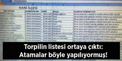 Torpilin listesi ortaya çıktı: Atamalar böyle yapılıyormuş!