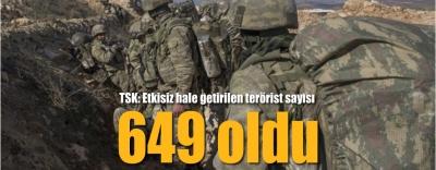 -TSK'DAN AFRİN AÇIKLAMASI: 649 TERÖRİST ETKİSİZ HALE GETİRİLDİ
