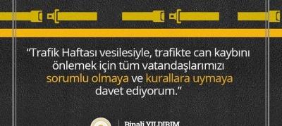 YILDIRIM'DAN TRAFİK HAFTASI MESAJI