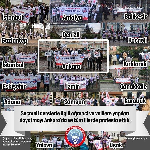 EĞİTİM İŞ SEÇMELİ DERS UYGULAMASINI TÜM YURTTA PROTESTO ETTİ