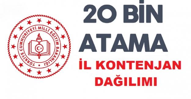 20 Bin Öğretmen Atama Tercihleri İl Kontenjan Dağılımı