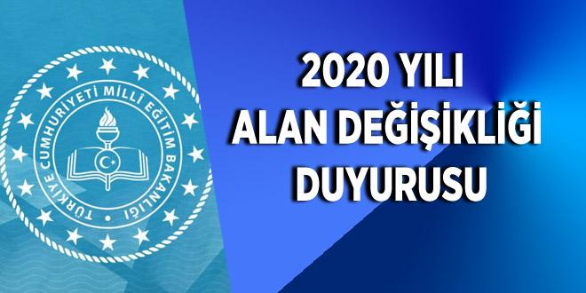 2020 yılı alan değişikliği duyurusu