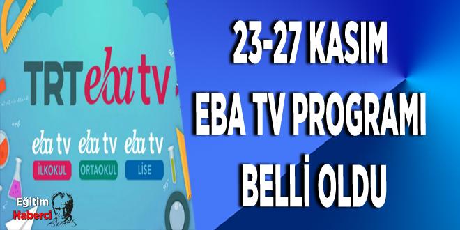 23-27 Kasım EBA TV Programı Belli Oldu