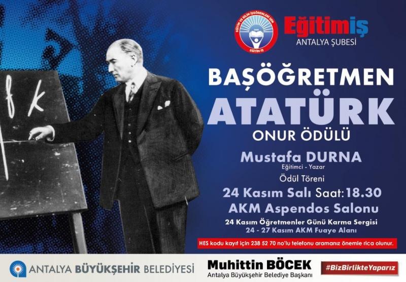 Başöğretmen Onur Ödülü Antalya'da Verilecek
