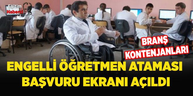 Engelli Öğretmen Ataması Başvuru Ekranı Açıldı
