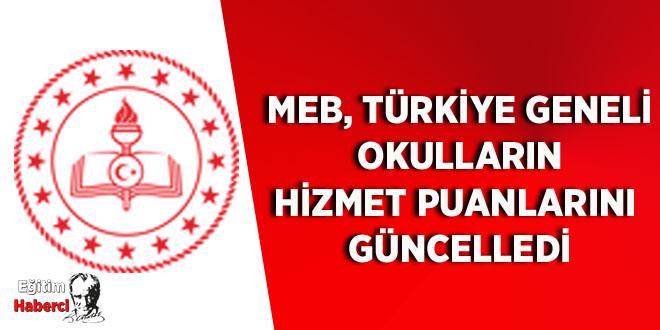 MEB, Türkiye Geneli Okulların Hizmet Puanlarını Güncelledi
