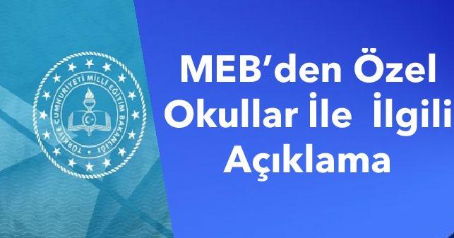 MEB'den Özel Okullar İle  İlgili Açıklama