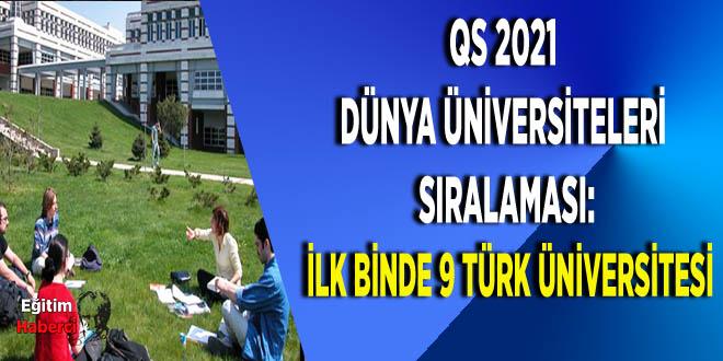 QS 2021 Dünya Üniversiteleri Sıralaması: İlk binde 9 Türk üniversitesi