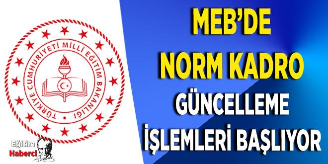 MEB'DE NORM KADRO GÜNCELLEME İŞLEMLERİ BAŞLIYOR